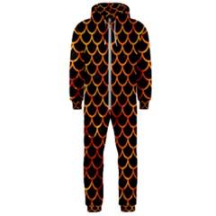 Scales1 Black Marble & Fire Hooded Jumpsuit (men)