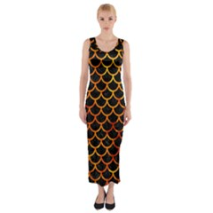 Scales1 Black Marble & Fire Fitted Maxi Dress