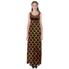 Scales1 Black Marble & Fire Empire Waist Maxi Dress