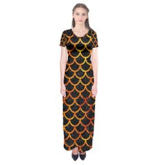 Scales1 Black Marble & Fire Short Sleeve Maxi Dress