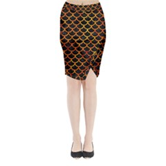 Scales1 Black Marble & Fire Midi Wrap Pencil Skirt