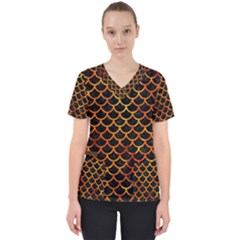 Scales1 Black Marble & Fire Scrub Top