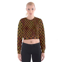 Scales2 Black Marble & Fire Cropped Sweatshirt