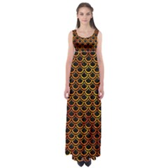 Scales2 Black Marble & Fire Empire Waist Maxi Dress