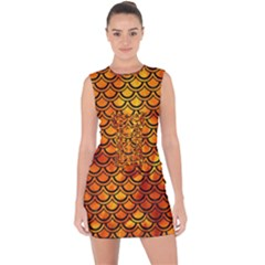 Scales2 Black Marble & Fire (r) Lace Up Front Bodycon Dress