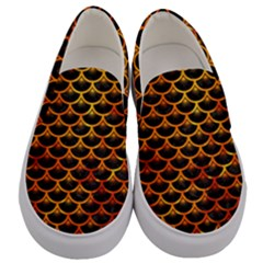 Scales3 Black Marble & Fire Men s Canvas Slip Ons