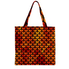 Scales3 Black Marble & Fire (r) Zipper Grocery Tote Bag