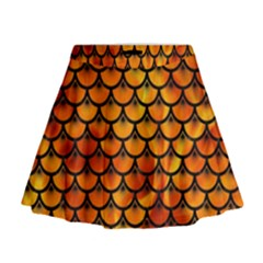 Scales3 Black Marble & Fire (r) Mini Flare Skirt