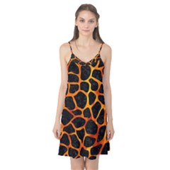 Skin1 Black Marble & Fire (r) Camis Nightgown