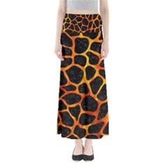 Skin1 Black Marble & Fire (r) Full Length Maxi Skirt
