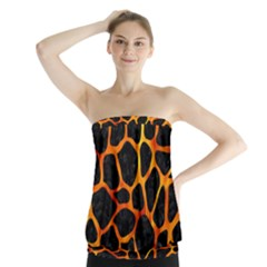 Skin1 Black Marble & Fire (r) Strapless Top