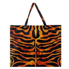 Skin2 Black Marble & Fire Zipper Large Tote Bag