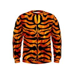 Skin2 Black Marble & Fire (r) Kids  Sweatshirt