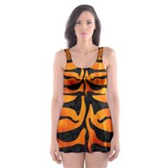 Skin2 Black Marble & Fire (r) Skater Dress Swimsuit