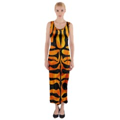 Skin2 Black Marble & Fire (r) Fitted Maxi Dress