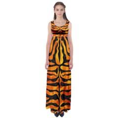 Skin2 Black Marble & Fire (r) Empire Waist Maxi Dress
