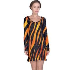Skin3 Black Marble & Fire Long Sleeve Nightdress