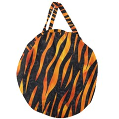 Skin3 Black Marble & Fire Giant Round Zipper Tote