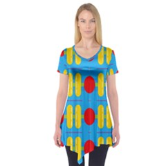 Ovals And Stripes Pattern                       Short Sleeve Tunic