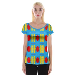 Ovals And Stripes Pattern                            Women s Cap Sleeve Top