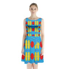 Ovals And Stripes Pattern                                Sleeveless Waist Tie Dress