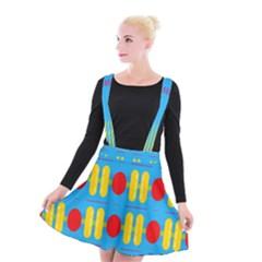 Ovals And Stripes Pattern                         Suspender Skater Skirt