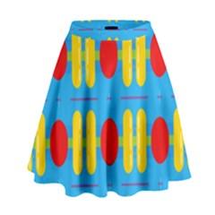 Ovals And Stripes Pattern                              High Waist Skirt