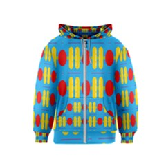 Ovals And Stripes Pattern                            Kids Zipper Hoodie