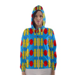 Ovals And Stripes Pattern                            Hooded Wind Breaker (women)