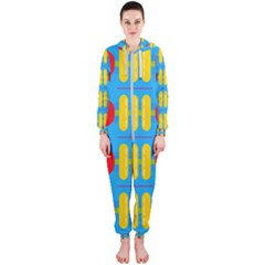 Ovals And Stripes Pattern                            Hooded Jumpsuit (ladies)