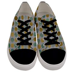 Green And Golden Dots Pattern                      Men s Low Top Canvas Sneakers