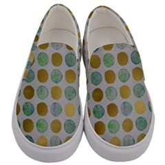 Green And Golden Dots Pattern                       Men s Canvas Slip Ons