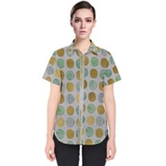 Green And Golden Dots Pattern                       Women s Short Sleeve Shirt