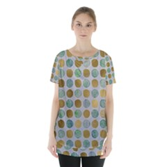 Green And Golden Dots Pattern                                Skirt Hem Sports Top