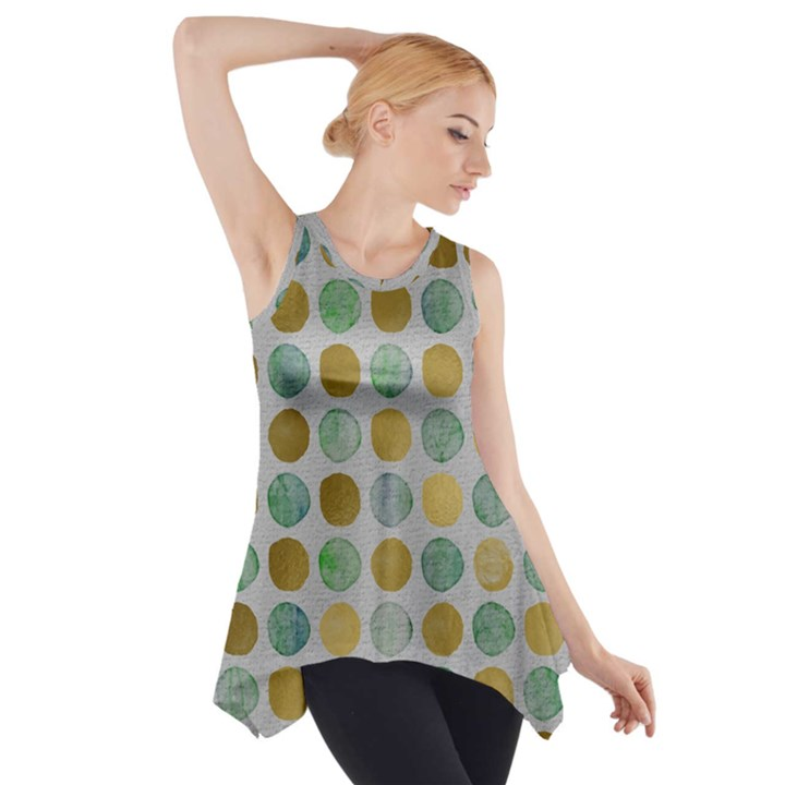 Green and golden dots pattern                            Side Drop Tank Tunic