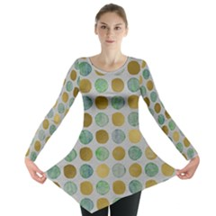 Green And Golden Dots Pattern                            Long Sleeve Tunic