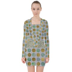 Green And Golden Dots Pattern                               V Neck Bodycon Long Sleeve Dress
