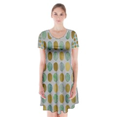 Green And Golden Dots Pattern                                Short Sleeve V Neck Flare Dress