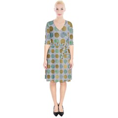 Green And Golden Dots Pattern                                Wrap Up Cocktail Dress