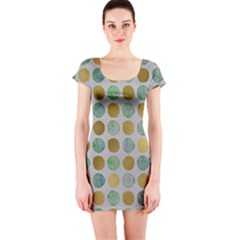 Green And Golden Dots Pattern                            Short Sleeve Bodycon Dress