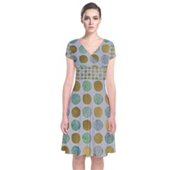 Green And Golden Dots Pattern                       Short Sleeve Front Wrap Dress