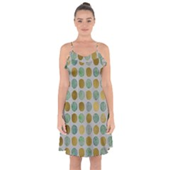 Green And Golden Dots Pattern                 Ruffle Detail Chiffon Dress