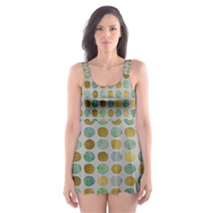 Green And Golden Dots Pattern                            Skater Dress Swimsuit