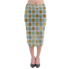 Green And Golden Dots Pattern                              Midi Pencil Skirt