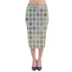 Green And Golden Dots Pattern                              Velvet Pencil Skirt