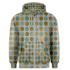 Green And Golden Dots Pattern                            Men s Zipper Hoodie