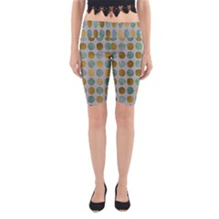 Green And Golden Dots Pattern                            Yoga Cropped Leggings