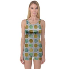 Green And Golden Dots Pattern                            Women s Boyleg One Piece Swimsuit