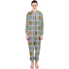 Green And Golden Dots Pattern                            Hooded Jumpsuit (ladies)