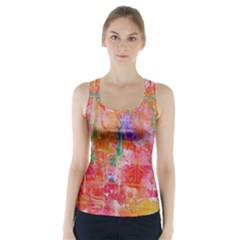 Colorful Watercolors Pattern                             Racer Back Sports Top